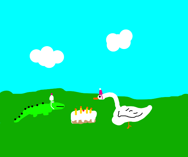 crocodile and swan at birthday party