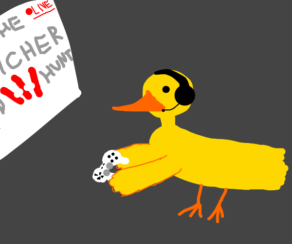 Duck livestreams the Witcher 3