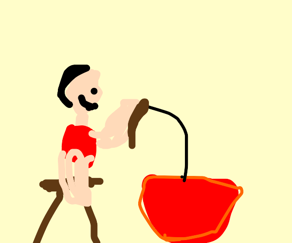 Man fishing from a bowl