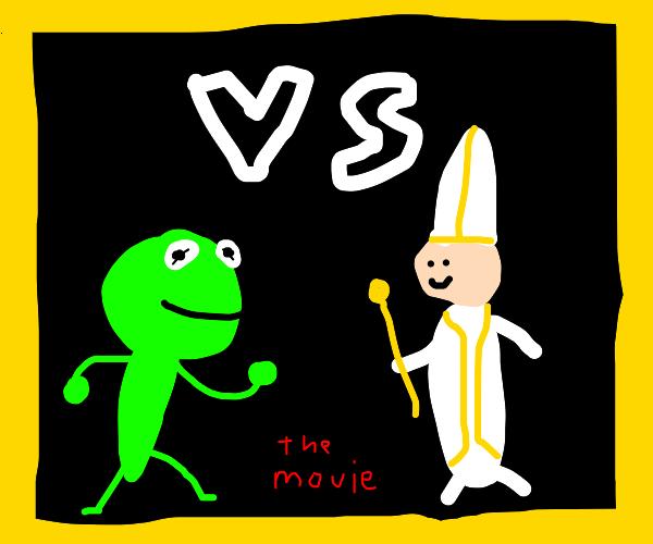 Battle of frogs Kermit vs Pope movie poster