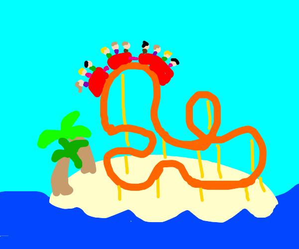 roller coaster on an island