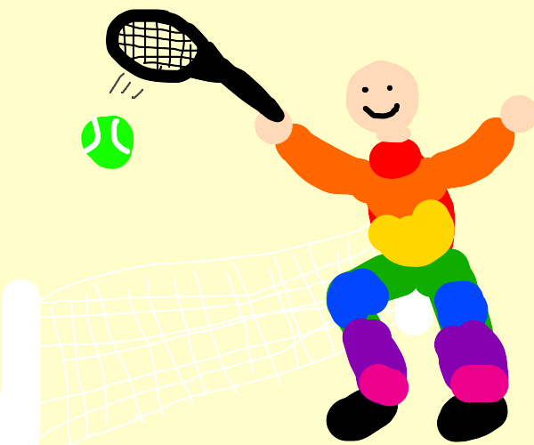 person in rainbow jumpsuit plays tennis