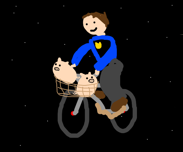 space cop takes pigs in bike basket