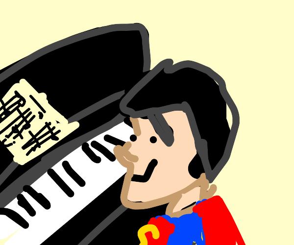 Superhero sitting at the Piano