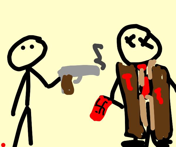 man shoots young nazi