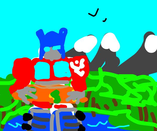 Autobots optimus prime in floatie on lake