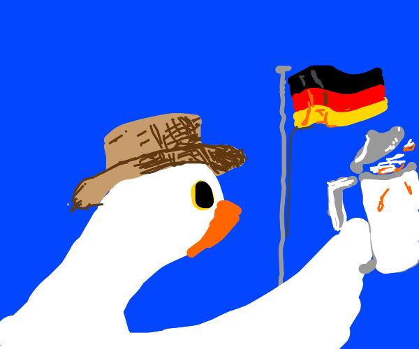 Ze German farmer goose is holding up beer ja