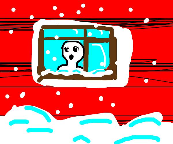 White humanoid enjoys first snow at da window
