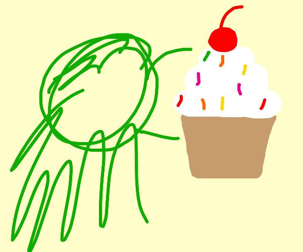 Orc eating a Cupcake