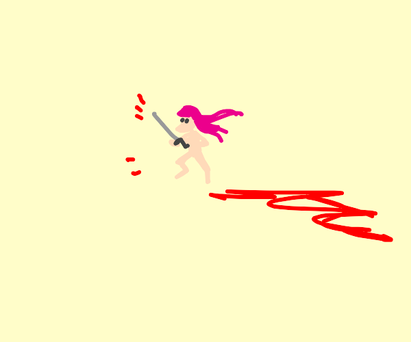 naked girl is killed (lots of blood)