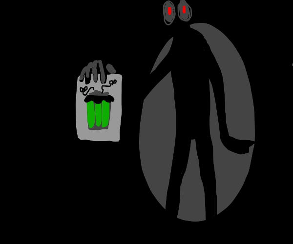 Shadow man holding a drawing of a trash can