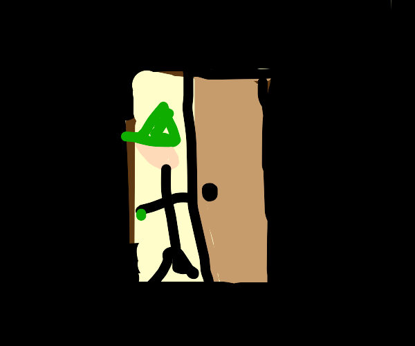 a witch opens a door