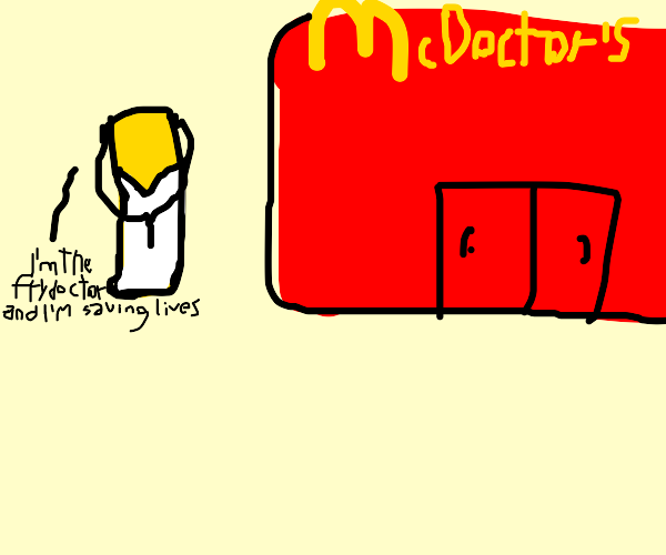 mcdonalds fries dressed up as a doctor