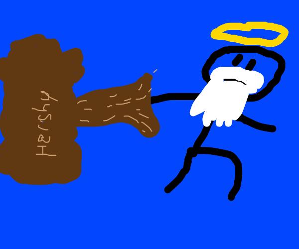 God pulling a chocolate tree