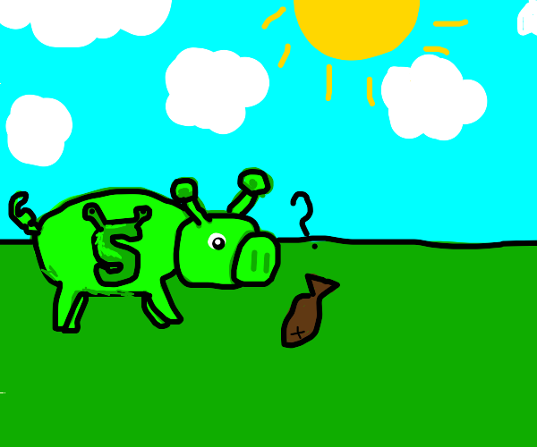 Shrek pig encounters a dead fish