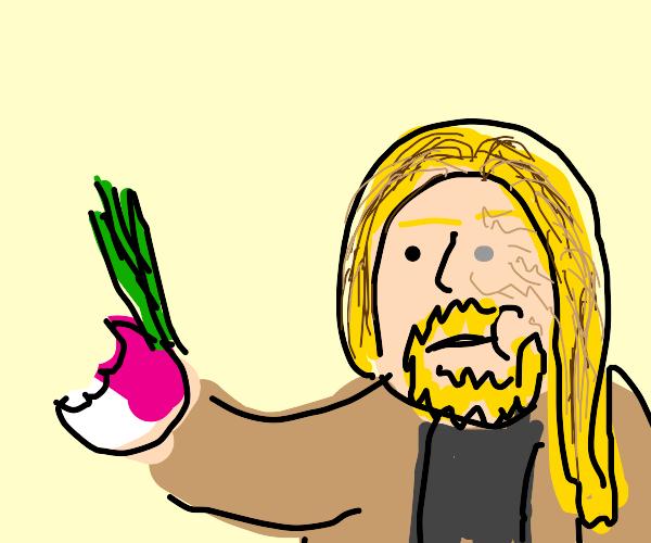 Cricket eating a Turnip