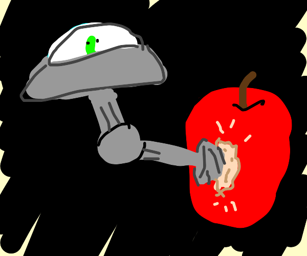 An alien drilled into a big apple for a snack