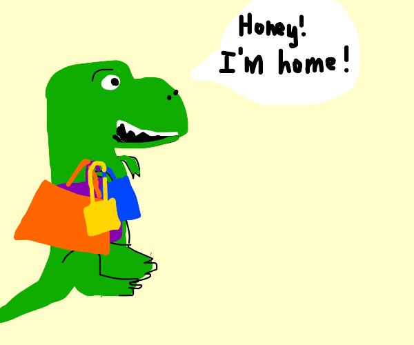 Tyrannosaur returns from shopping