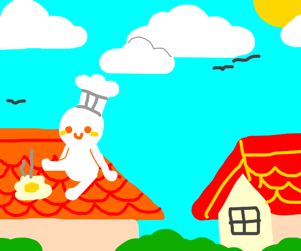 Coocking eggs on rooftop