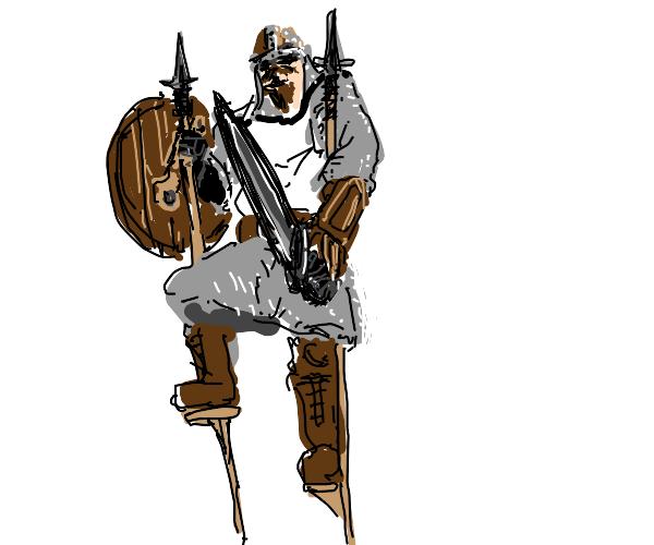 Vikings battle on stilts using spears