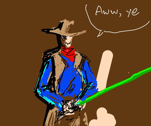 cowboy loves green lightsabers