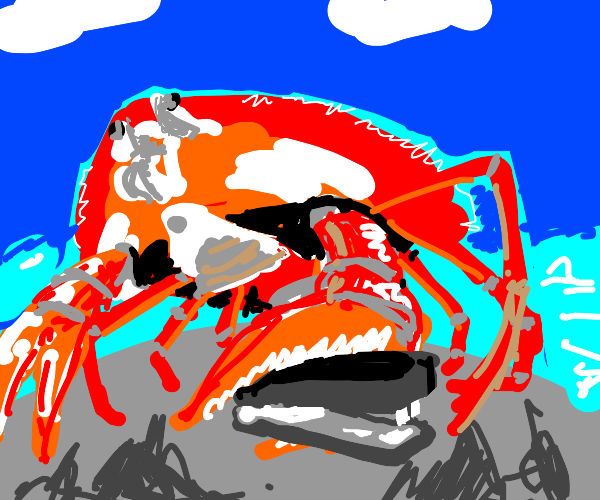 A red crab holding a staple in the beach