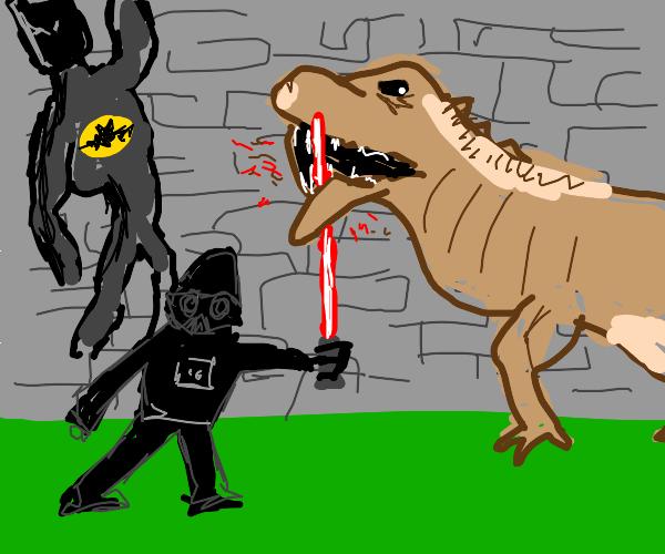 darth vader and batman vs mega t rex