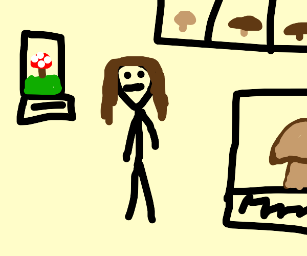 A girl in mushroom museum