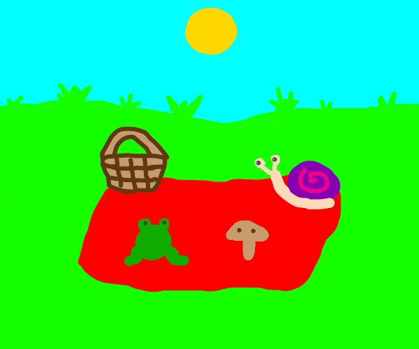 frog, mushroom, and snail all having a picnic