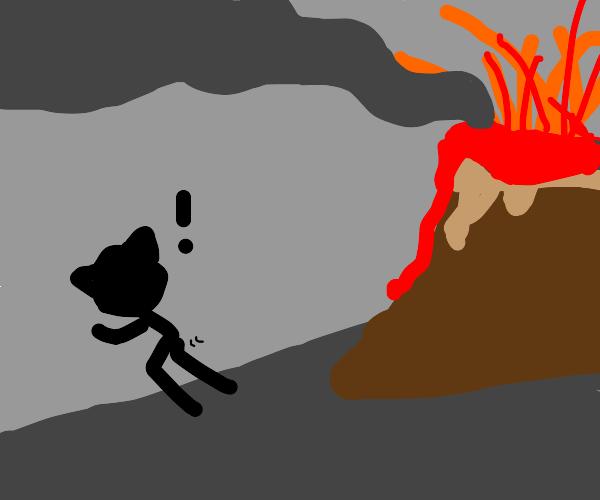 Cat man runs away from erupting volcano