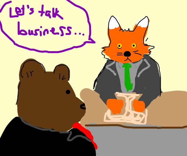Fox meets bear