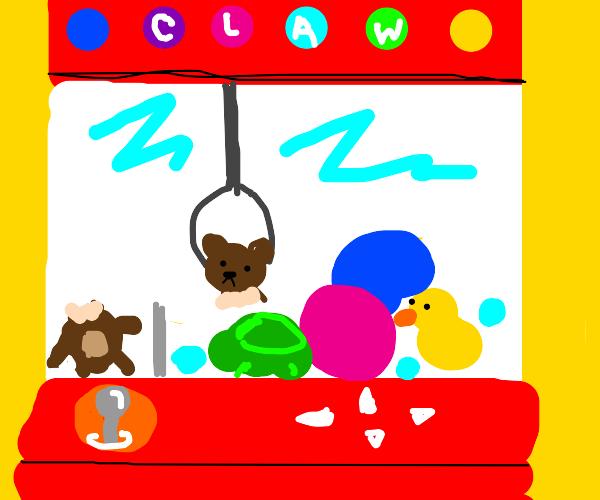 bear rips in claw machine