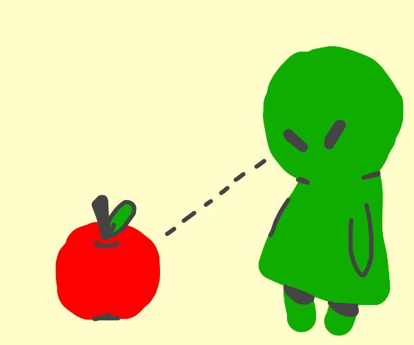 Alien sees an apple