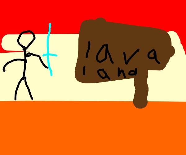 stick figure uses ice sword in lava land