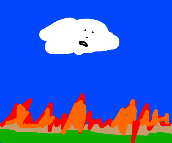curious cloud looks at fire angry at fire