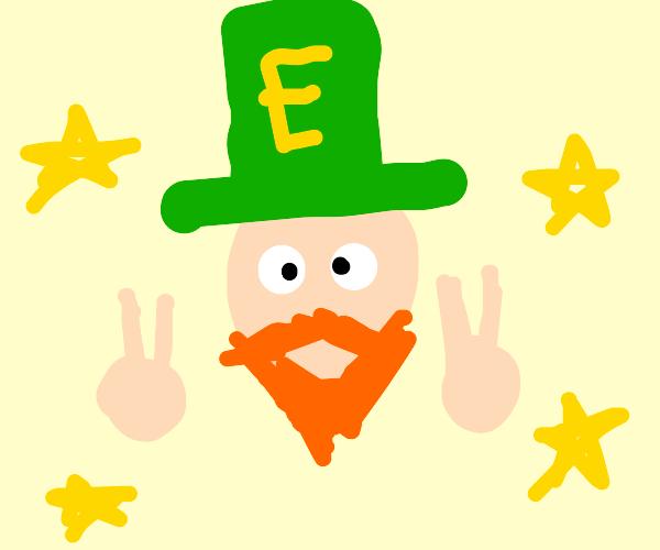 Bearded face wears a green 'E' hat