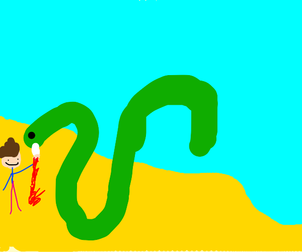 Guy gets stabbed by snake