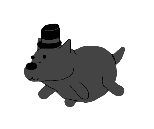 fat wolf with a top hat