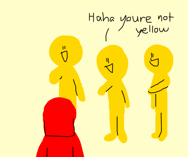 yellow people bully red girl