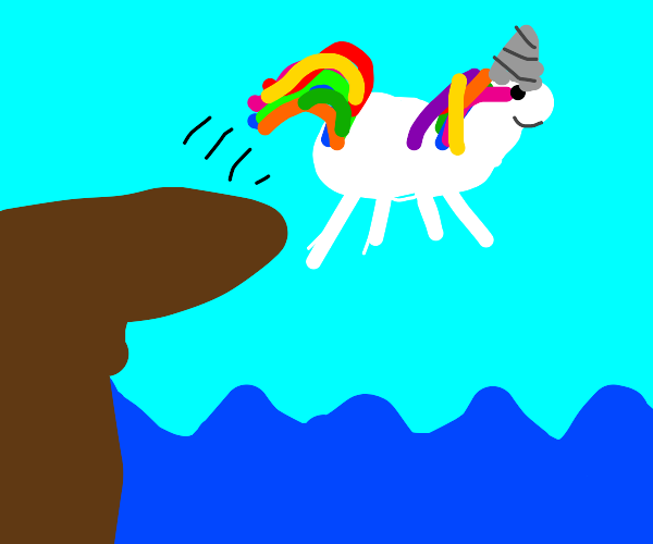 Unicorn about to belly-flop into ocean