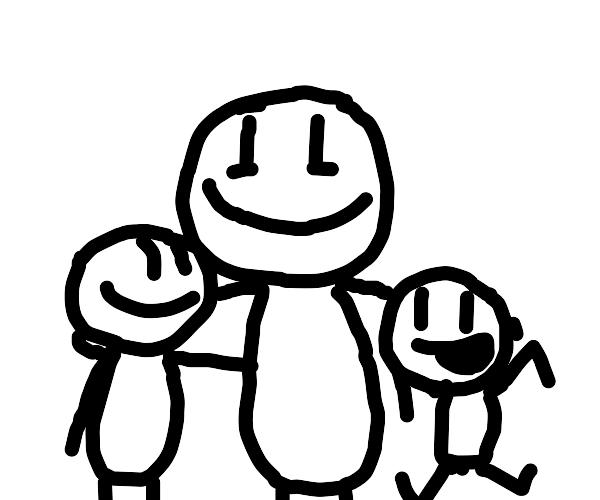 dad hugging kids
