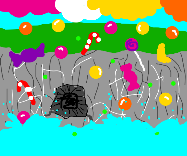 cliff with a cave; its raining gumballs/candy