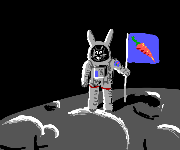 Proud bunny astronaut poses for the photo.