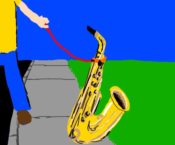 Man walking his pet saxophone