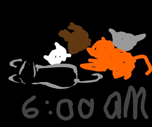 Warrior asleep at 6:00 am