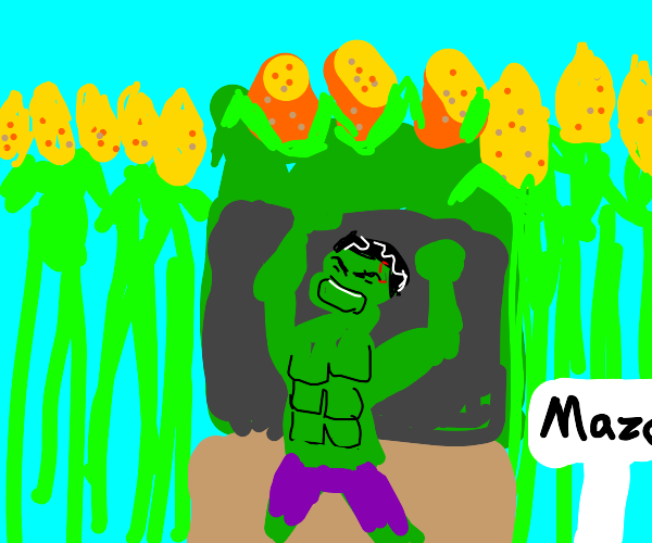 Hulk mad at a Corn signboard