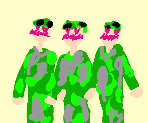 three blushing soldiers