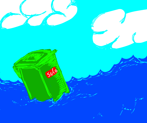 water and a trashcan