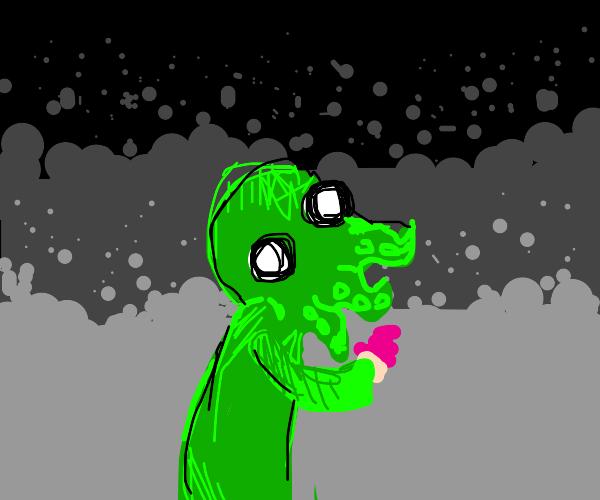 cthulhu eats a cupcake