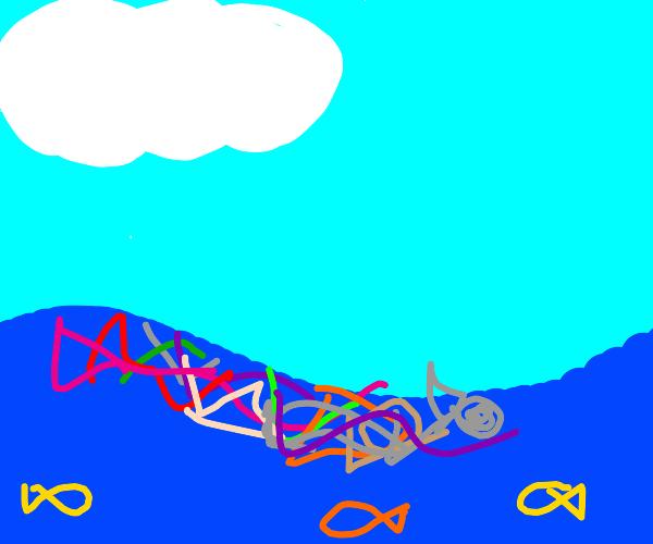 trash floating in the ocean